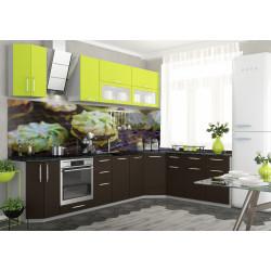 Модульная кухня Капля (Шоколад/Лайм)